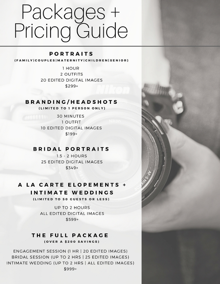 denise benson photography pricing guide